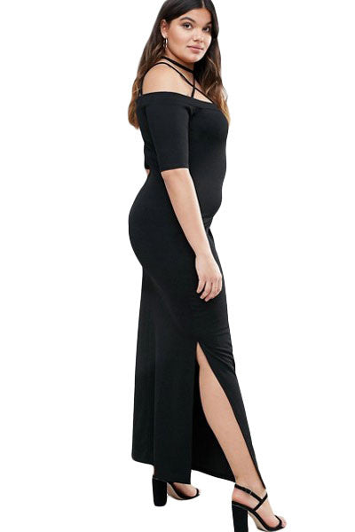 Chicloth Strap Detail Plus Maxi Dress with Side Slits-Plus size Dresses-Chicloth