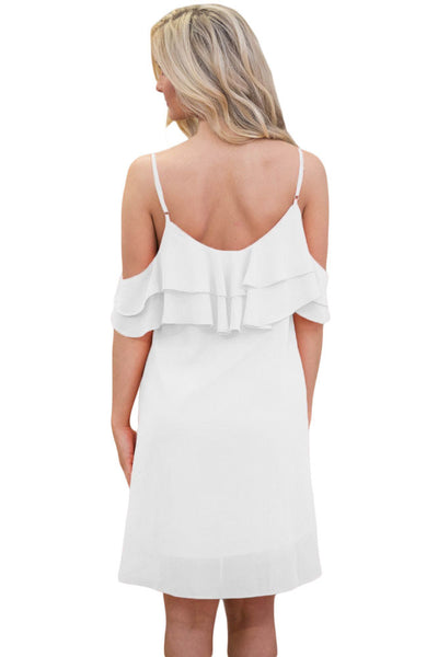 Chicloth White Ruffle Double Layered Short Dress