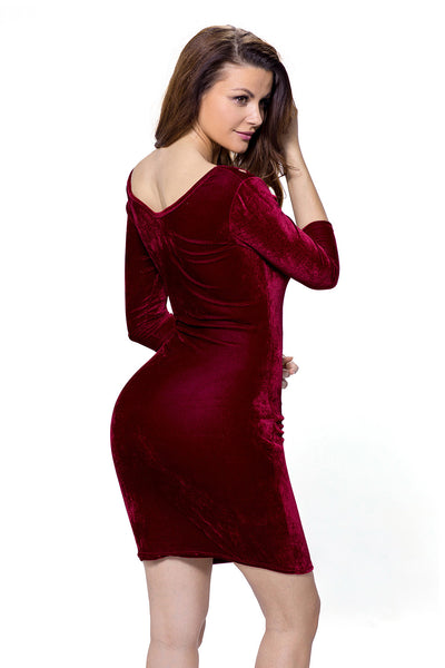 Chicloth Burgundy Hollow Out Round Neck Sleeved Velvet Dress-Mini Dresses-Chicloth