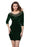 Chicloth Dark Green Hollow Out Round Neck Sleeved Velvet Dress-Mini Dresses-Chicloth