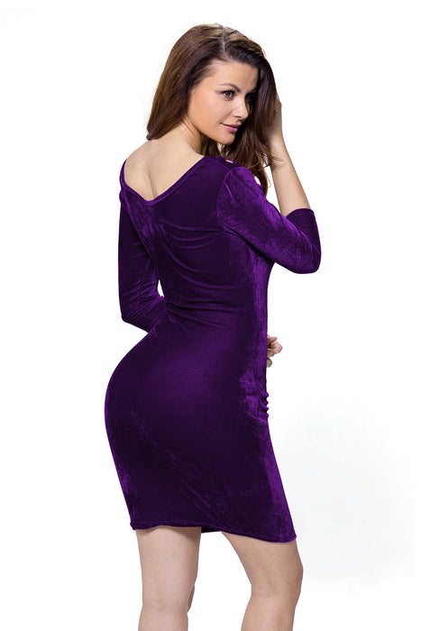 Chicloth Purple Hollow Out Round Neck Sleeved Velvet Dress-Mini Dresses-Chicloth