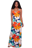 Chicloth Orangish Multi-color Floral Print Crisscross Back Maxi Dress