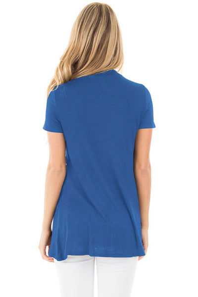Chicloth Blue Mock Neck Cut out Short Sleeve Top