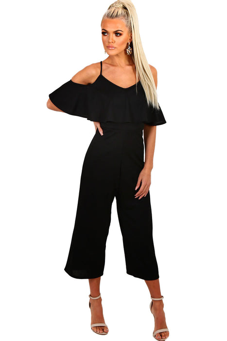 Chicloth Black Frill Culotte Jumpsuit-Jumpsuits & Rompers-Chicloth