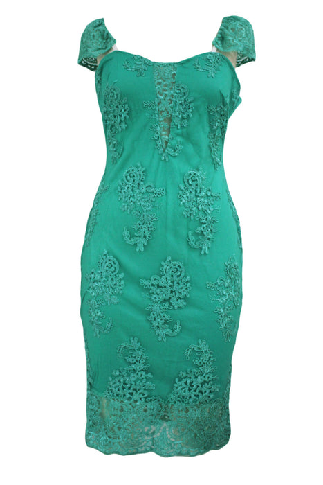 Chicloth Green Embroidered Cap Sleeves Bodycon Party Dress-Bodycon Dress-Chicloth