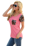 Chicloth Rosy Leopard Print Spliced Women T-shirt