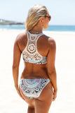 Chicloth Boho Fashion Print Crochet Accent 2pcs Tankini Swimsuit