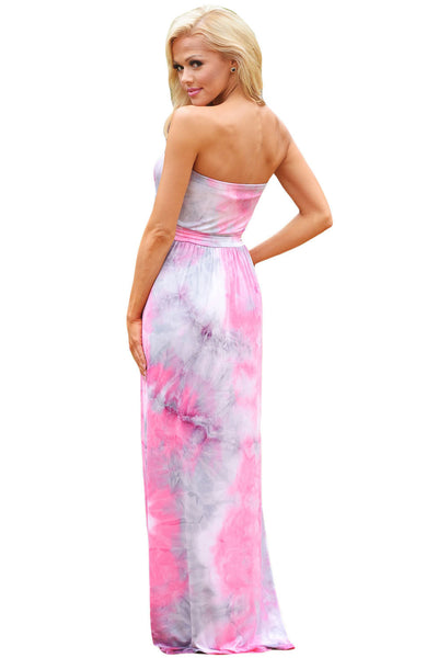Chicloth Contrast Tendril Print Pink Strapless Maxi Boho Dress