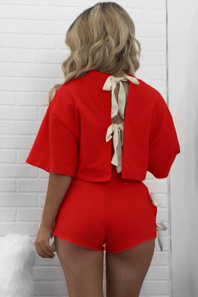 Chicloth Beautiful Tie Up Detail Red Short Set