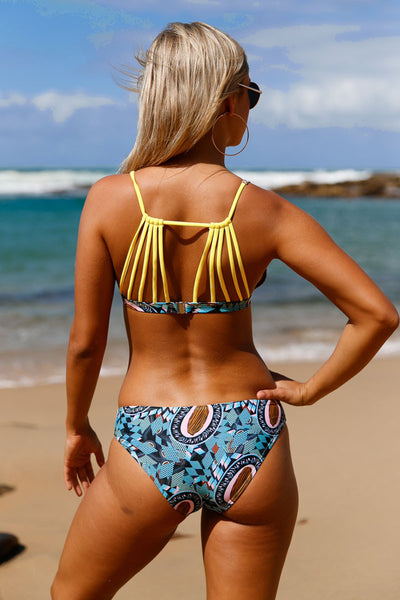 Chicloth Blue Summer Printed Strappy Back Bikini Swimsuit