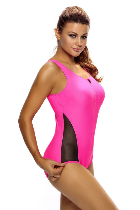 Chicloth Mesh Splicing Rosy Tank Zipped Monokini with Lace up Back-One piece Swimwear-Chicloth