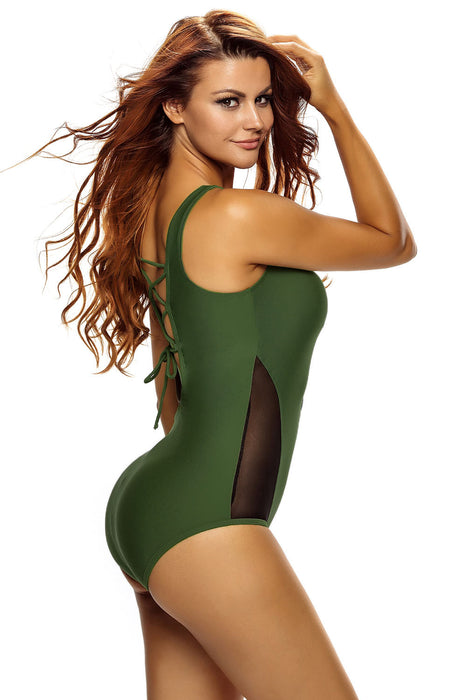 Chicloth Mesh Splicing Army Green Tank Zipped Monokini with Lace up Back-One piece Swimwear-Chicloth