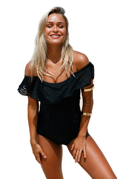 Chicloth Black Flounce Off Shoulder One Piece Swimsuit