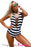 Chicloth Black White Stripes Lace Up Halter One Piece Swimsuit-One piece Swimwear-Chicloth