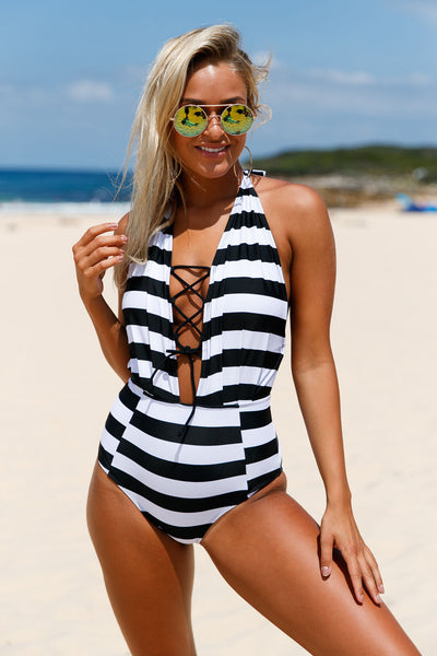 Chicloth Black White Stripes Lace Up Halter One Piece Swimsuit