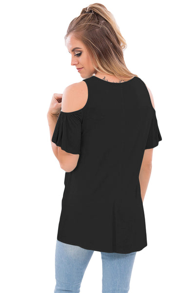 Chicloth Black Crisscross Front Cold Shoulder Ruffle Sleeve Top
