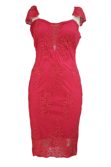 Chicloth Pink Embroidered Cap Sleeves Bodycon Party Dress-Bodycon Dress-Chicloth