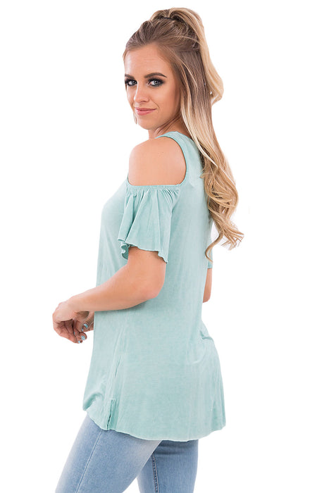 Chicloth Light Green Crisscross Front Cold Shoulder Ruffle Sleeve Top-Blouse-Chicloth