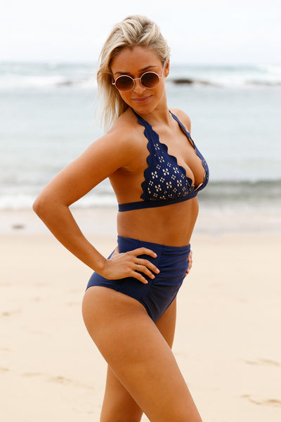 Chicloth Navy Scalloped Halter Bikini High Waist Swimsuit-High Waist Swimwear-Chicloth