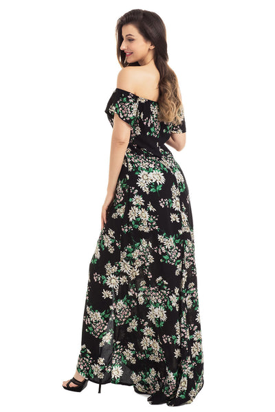 Chicloth Black Vibrant Floral Romper Maxi Dress