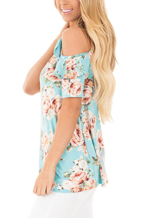 Chicloth Light Blue Floral Cold Shoulder Top with Ruffle Sleeve-Blouse-Chicloth