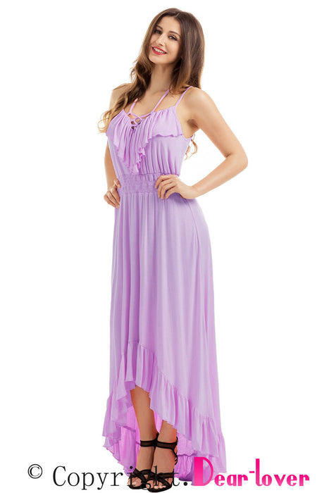 Chicloth Lilac Lace Up V Neck Ruffle Trim Hi-low Maxi Dress-Maxi Dresses-Chicloth