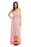 Chicloth Light Pink Lace Up V Neck Ruffle Trim Hi-low Maxi Dress-Maxi Dresses-Chicloth