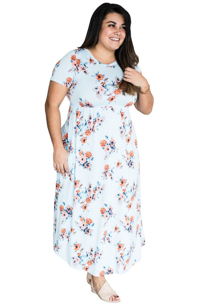 Chicloth Casual Pocket Design Light Blue Floral Dress