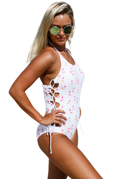 Chicloth Floral Print Thru Halter Neck Lace up Sides Monokini-One piece Swimwear-Chicloth