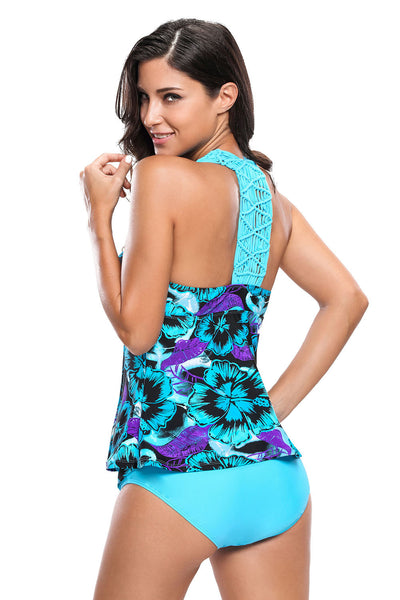 Chicloth Bluish Floral Print Macrame Tankini and Short Swimsuit