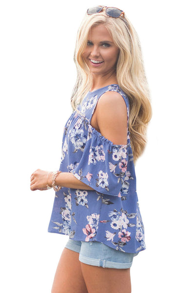 Chicloth Cold Shoulder Blue Floral Blouse