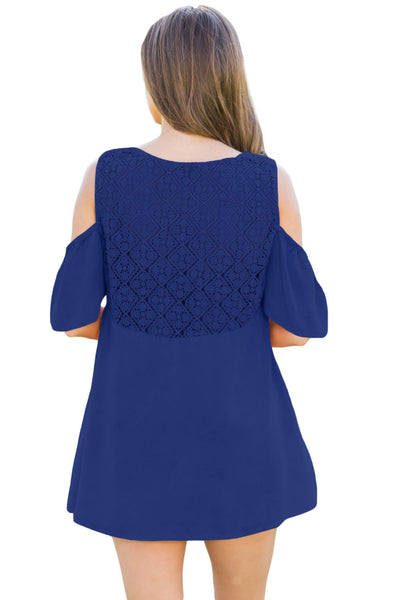 Chicloth Blue Crochet Neck and Back Cold Shoulder Top
