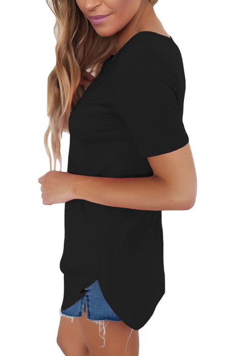 Chicloth Solid Black Soft Cage Front Women Top-Blouse-Chicloth