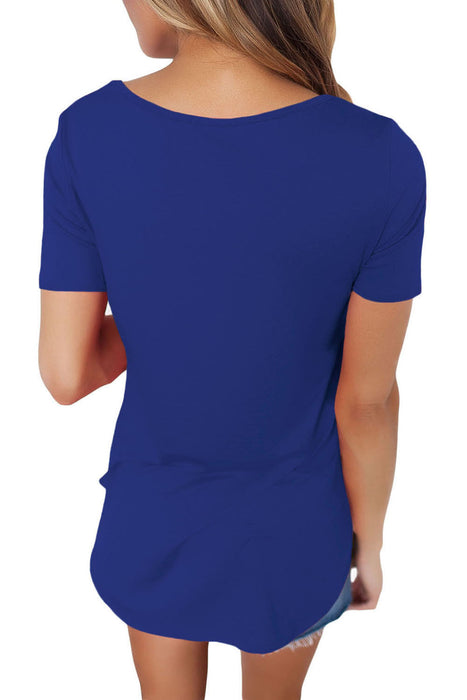 Chicloth Solid Blue Soft Cage Front Women Top-Blouse-Chicloth