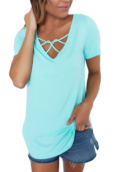Chicloth Acid Blue Soft Cage Front Women Top