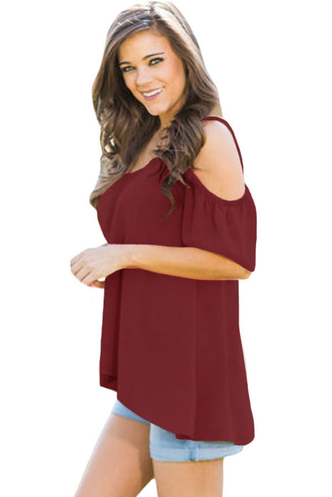 Chicloth Red Crochet Neck and Back Cold Shoulder Top-Blouse-Chicloth