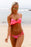 Chicloth Bright Coral Striped Detail Ruffle Top 2pcs Bathing Suit-Swimwear-Chicloth