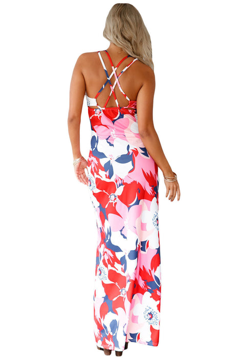 Chicloth Pinkish Multi-color Floral Print Crisscross Back Maxi Dress-Boho Dresses-Chicloth
