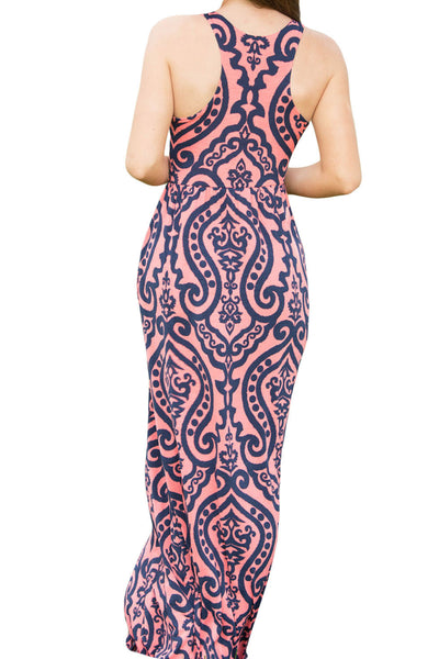 Chicloth Coral Contrast Damask Print Sleeveless Long Dress