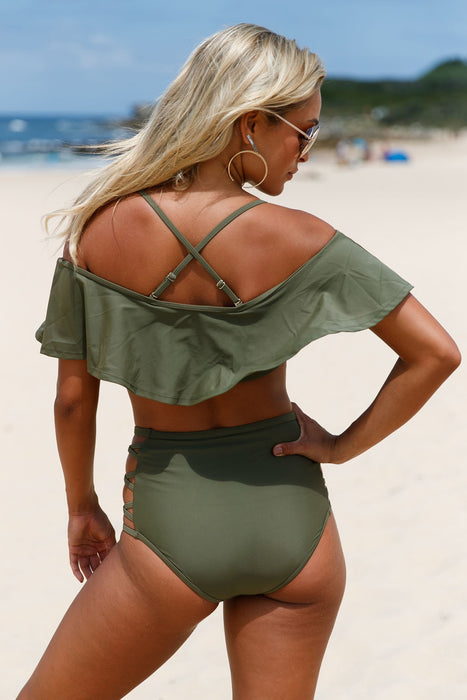 Chicloth Oliver Ruffle Off Shoulder Bikini High Waist Swimsuit-High Waist Swimwear-Chicloth