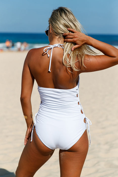 Chicloth White Halter Neck Lace up Sides Monokini-One piece Swimwear-Chicloth
