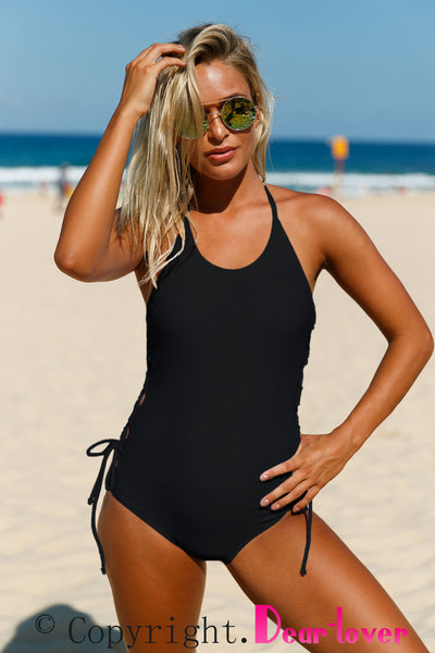 Chicloth Black Halter Neck Lace up Sides Monokini