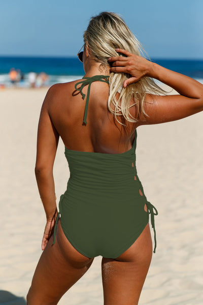 Chicloth Army Green Halter Neck Lace up Sides Monokini