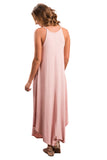 Chicloth Pink Sexy Chic Sleeveless Asymmetric Trim Maxi Dress