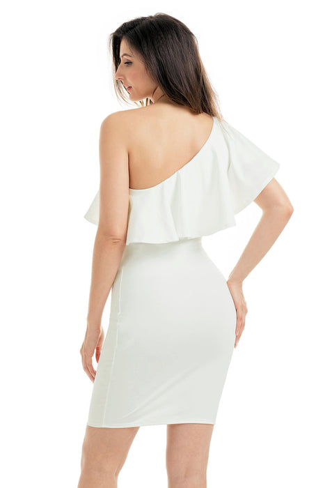Chicloth White One Shoulder Party Cocktail Mini Dress-Mini Dresses-Chicloth
