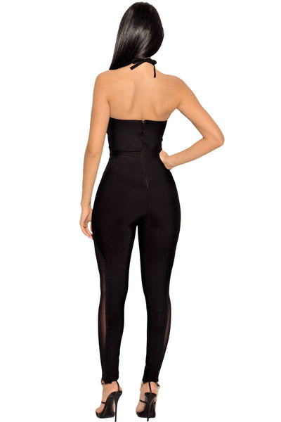 Chicloth Black Chain Strap Bandage Jumpsuit