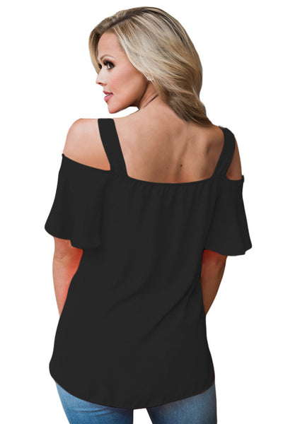 Chicloth Black Open Shoulder Ruffle Sleeve Asymmetric Hem Top