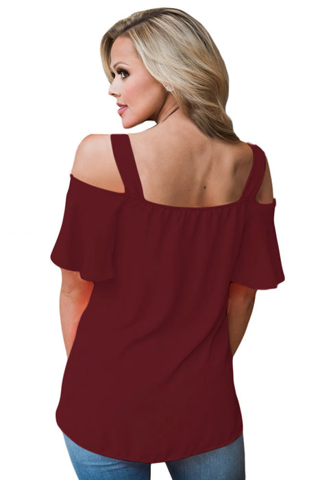 Chicloth Open Shoulder Ruffle Sleeve Asymmetric Hem Top-Blouse-Chicloth