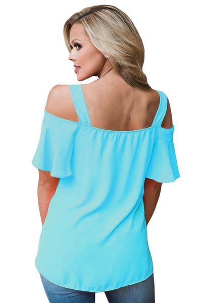Chicloth Acid Blue Open Shoulder Ruffle Sleeve Asymmetric Hem Top