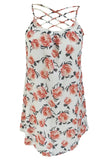 Chicloth White Floral Print Crisscross Neckline Shift Dress